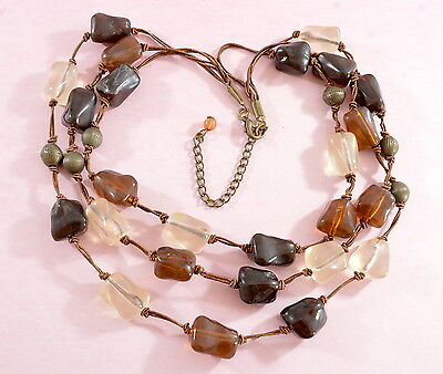 Vintage/vintage style three strand cord necklace with hand knotted beads