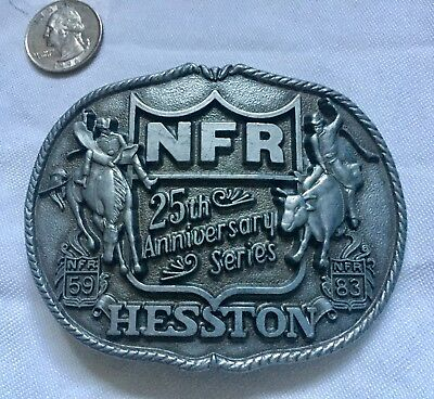 Vintage 1983 Hesston Belt buckle National Finals Rodeo 25th Anniversary Series 1