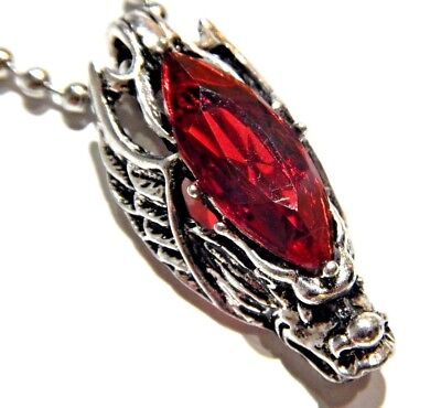 WINGED CHINESE DRAGON PENDANT & RED STONE silver biker metal goth necklace 1I