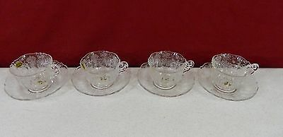 Set of 4 Cambridge Rose Point Cup and Saucer (3900)