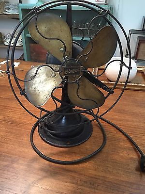 Antique Brass Blade Fan Century Model 224 Frame S1A-9 No. F4- untested