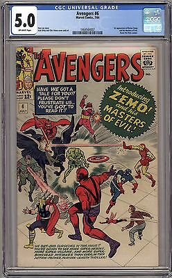 Avengers 6 - CGC 5.0 Off White Pages - 1st Baron Zemo and The Masters of Evil