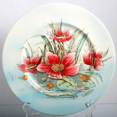 Royal Staffordshire Clarice Cliff Plate Pink Waterlily Flower Vintage Pottery