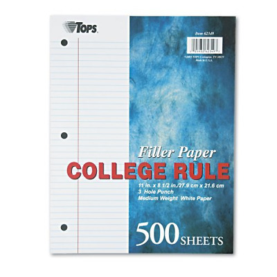 TOPS Notebook Filler Paper, College Ruled, 11 x 8.5 Inches, 3-Hole Punched, Medi