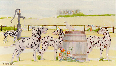 Dalmatian Print: Off To The Dog Show by UK Artist Sandra Coen - LAST ONE!