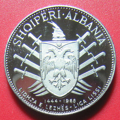 1969 Albania 5 Leke Silver Proof Sword Victory Over Turks Rare Mint=1,500 Coins!
