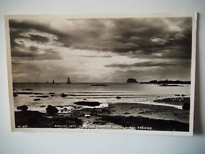 Evening Firth of Forth North Berwick Real Photograph 1956 Old Postcard JB White