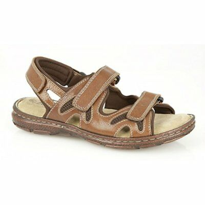 2805f1db93a7 Roamers MILO Mens Leather Touch Fasten Summer Sports Sandals Tan Brown Black