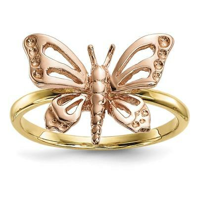 14k Two-tone Gold Polished Butterfly Ring Size 7 R628