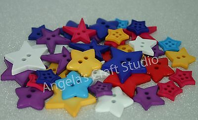 20 FUNKY STAR Novelty Buttons Mixed Sizes - Great for Craft & Sewing Projects