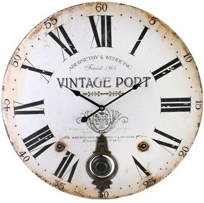 Antique Vintage Port Wooden Wall Clock Brass Pendulum Roman Numerals