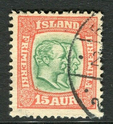 ICELAND;  1907 early Double Head issue fine used 15a. value