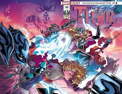 """Mighty Thor 700 NM Wraparound 2017 Marvel Legacy """"DEATH OF THE MIGHTY THOR"""""""