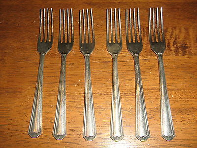 Vintgage Six Grosvenor Delphic Design Silverplate Large Main Fork's.to