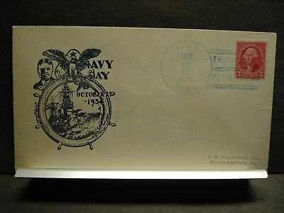 USS BORIE DD-215 Naval Cover 1934 RICHELL NAVY DAY Cachet