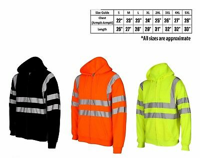 HQ Hi Viz Vis High Visibility Jacket Hoodie Work Zip Hooded SweatShirt Fleece