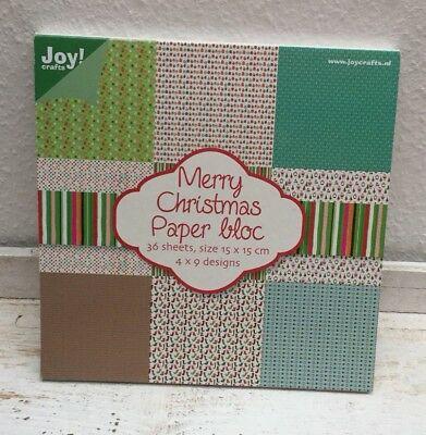 Scrapbooking Papier Block 36 Blätter 15x15 cm Merry Christmas Joy!Crafts
