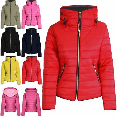 Kids Girls Boys Padded Quilted Puffer Bubble Faux Fur Collar Hooded Jacket Coat