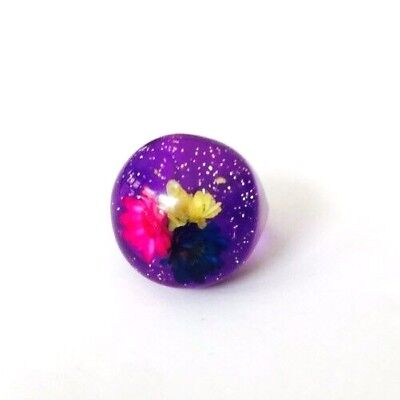 Vintage Purple Confetti Lucite Flower Bubble Ring Women's Size 6.75