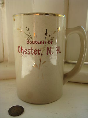 antique Chester NH stoneware MUG cup vintage gold stein tankard New Hampshire