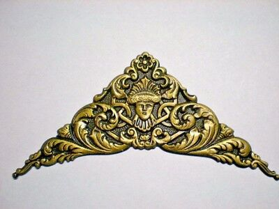 """Antique Metal Overlay Decoration 5"""" x 3-5/8"""" For Clocks,Dial,Crafts SINGLE PIECE"""