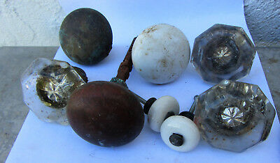 Lot  Vintage Victorian Door Knobs Hardware Glass Porcelain Brass