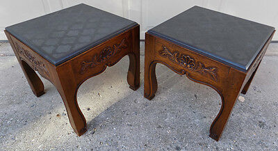 Drexel Heritage country French carved end tables w/ slate tops Henredon era nice