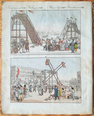 Bertuch Handcolored Print Russia Sports of the Russian People - 1790/