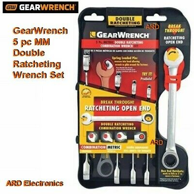 GearWrench 5 pc MM Combination Double Ratcheting Wrench Set