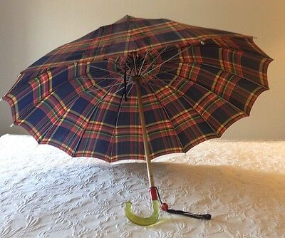 Vintage Red/Navy Blue Plaid Umbrella W/Clear Yellow & Red Bakelite Lucite Handle