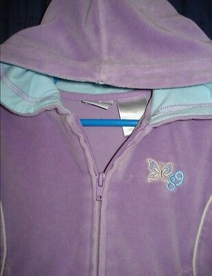 Purple Blue SweatSuit 2pc Outfit Hoodie Jacket 24m BG85 Embroidered Butterfly