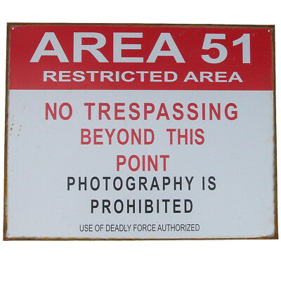 Tin Metal Sign- US Area 51 Restricted No Trespassing -Vintage Bar/Pub Wall Decor