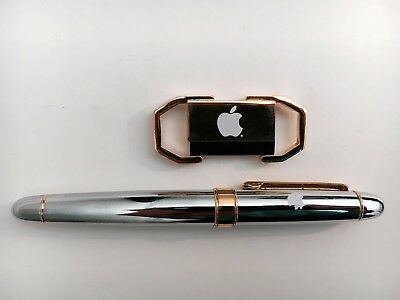 Authentic Apple Computer Gold Pen and Key Chain Set Apple Logo Employee Store 2