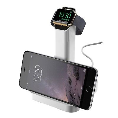 Griffin WatchStand Charging Dock, Dual Stand for Apple Watch and iPhone- White