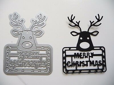 Thin Metal Cutting Die Dies Merry Christmas Reindeer Deer Card Scrapbook Sizzix