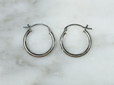"Pair Classic Vintage Solid 14K White Gold Round 3/4"" Hoop Earrings Not Scrap"