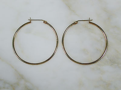 "Pair Classic Vintage Solid 14K Yellow Gold Round 1 3/8"" Hoop Earrings Not Scrap"