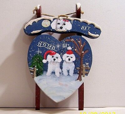 hand painted Bichon Frise Christmas Wooden Sled ready to hang wall art