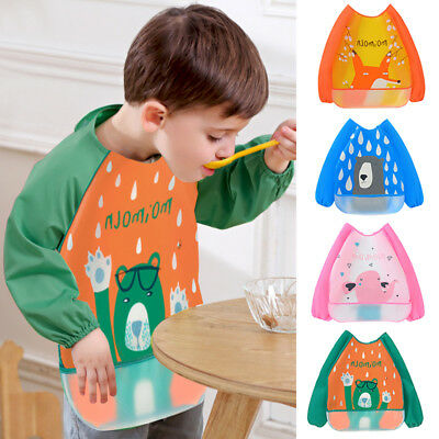 Babys Toddler Kids Long Sleeve Waterproof Feeding Coverall Art Apron Bib Smock