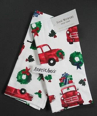 Red Pickup Truck Christmas Tree Kitchen Towel 2 Pc Set~Cotton Isaac Mizrahi