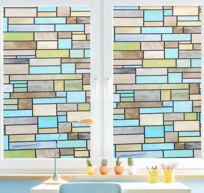 Stained Glass Window Film Static Cling Decorative Covering for Privacy by Bloss