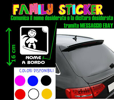 STICKER STICKERS ADESIVI adesivo AUTO MACCHINA BABY SURFER ON BOARD HOBBY BIMBO