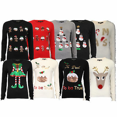 Ladies Mohair Chenille Christmas Jumper Heart And Soul Womens Xmas Reindeer