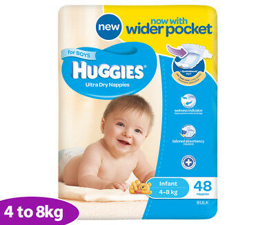 Huggies Ultra Dry Infant Nappies Boys 4-8kg 48pk