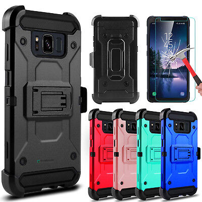 For Samsung Galaxy S8 Active Hybrid Armor Case Kickstand Clip + Screen Protector
