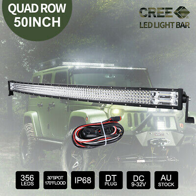 50 inch CREE LED Light Bar Curved Combo Beam 4WD Work Driving Lamp 398000LM