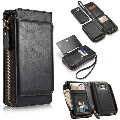 Genuine Leather Wallet Magnetic Rugged Case For Samsung Galaxy S5 S6 S7 Edge