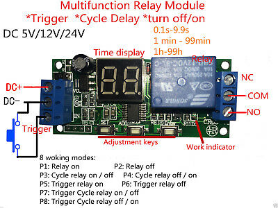 DC12V 24V LED Display Infinite Cycle Delay Timer Relay Switch Turn ON/OFF Module