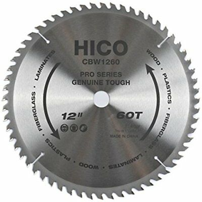 "Miter Saw Blades CBW1260 12"" 60-Tooth ATB Thin Kerf General Purpose With 1-Inch"