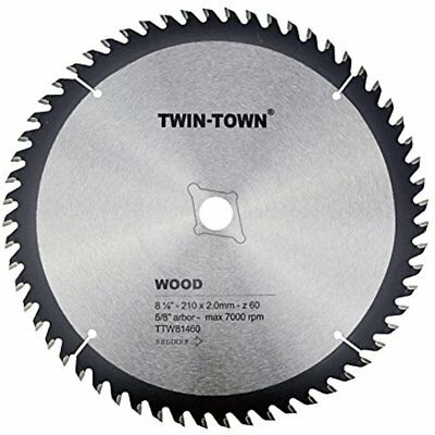 Circular Saw Blades TWIN-TOWN 8-1/4-Inch 60 Tooth ATB Fine Finish Thin Kerf With